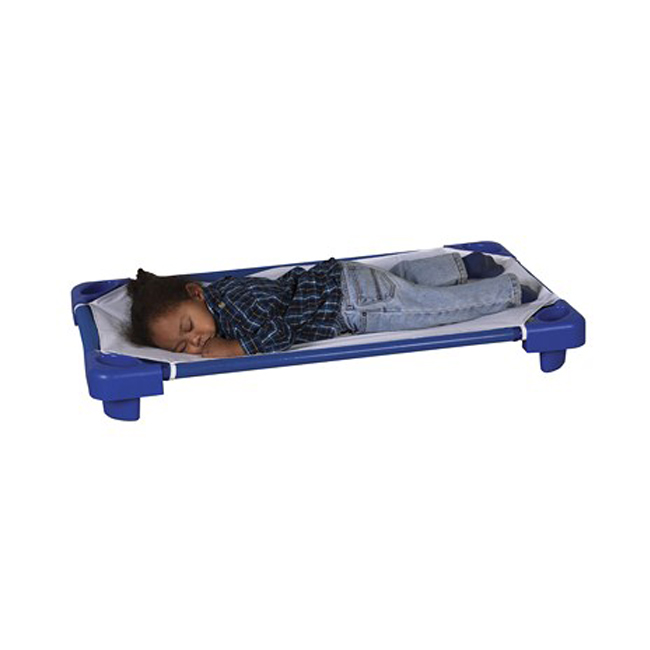 Offex Stackable Toddler Blue Kiddie Nap Plastic Cot with Sheet For Kids - 6 Pack, Assembled