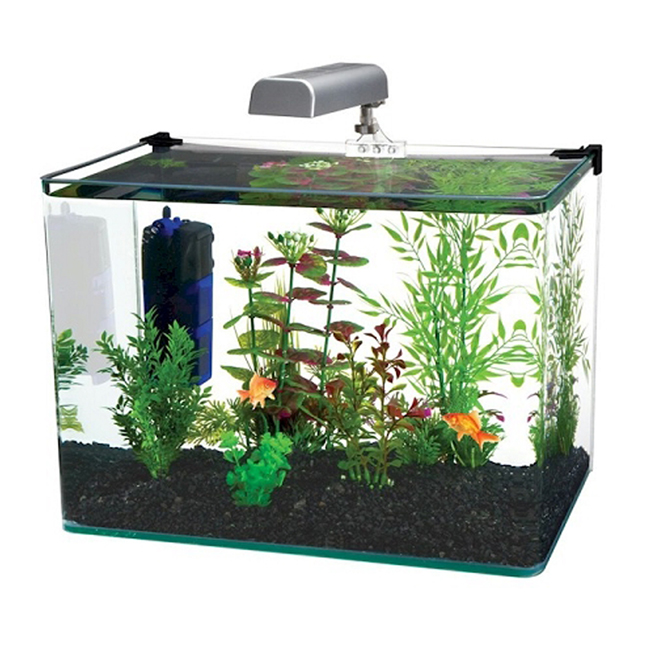 radius 7 5 gallon corner glass aquarium fish tank kit with