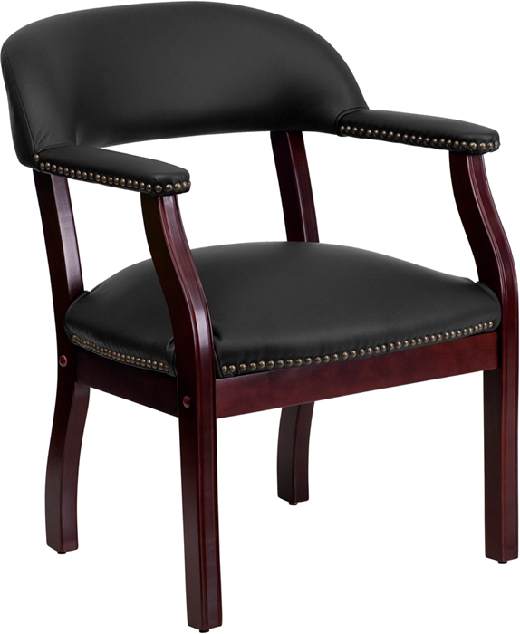 Offex Black Leather Conference Chair [B-Z105-LF-0005-BK-LEA-GG]