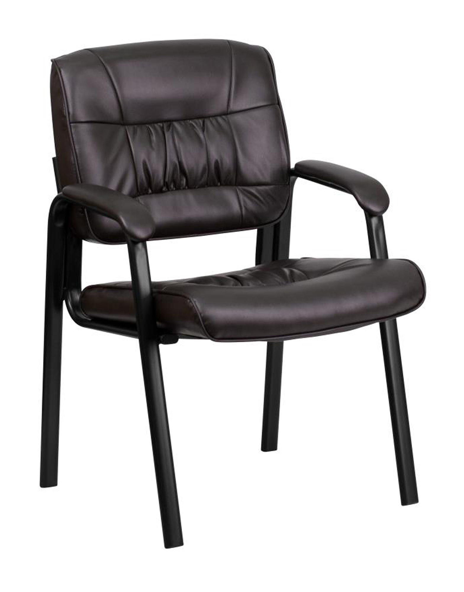 Offex Brown Leather Guest Reception Chair with Black Frame Finish [BT-1404-BN-GG]