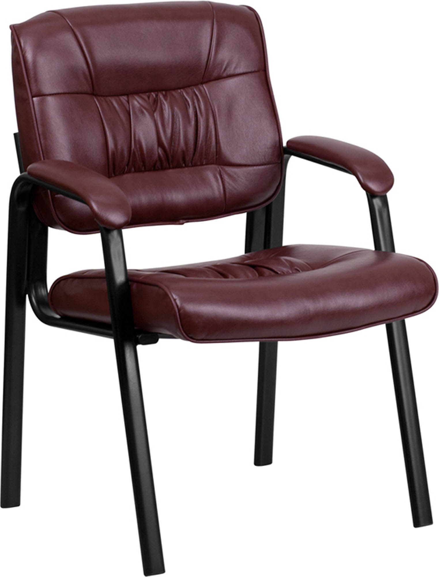 Offex Burgundy Leather Guest Reception Chair with Black Frame Finish [BT-1404-BURG-GG]