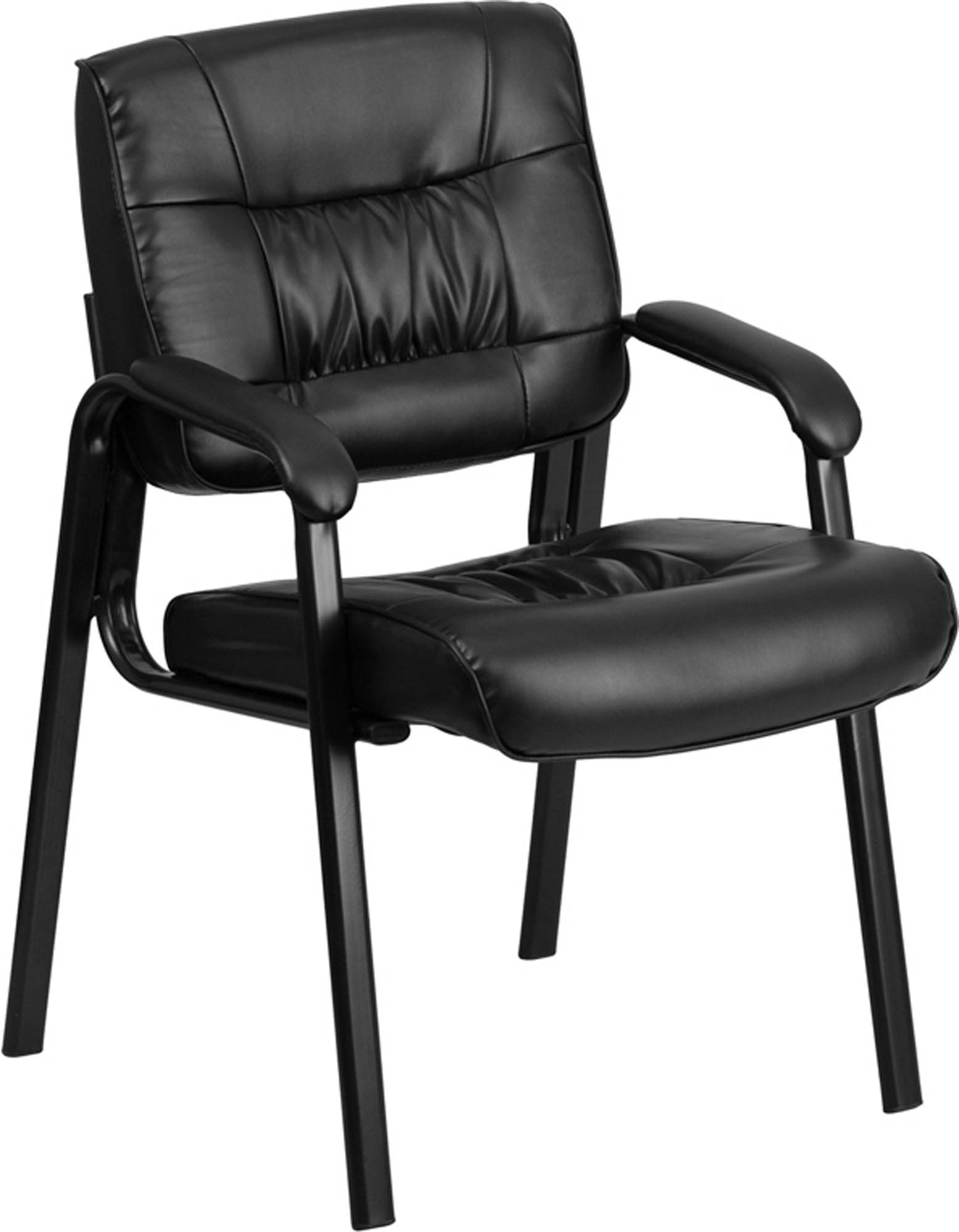 Offex Black Leather Guest Reception Waiting Room Chair with Black Frame Finish