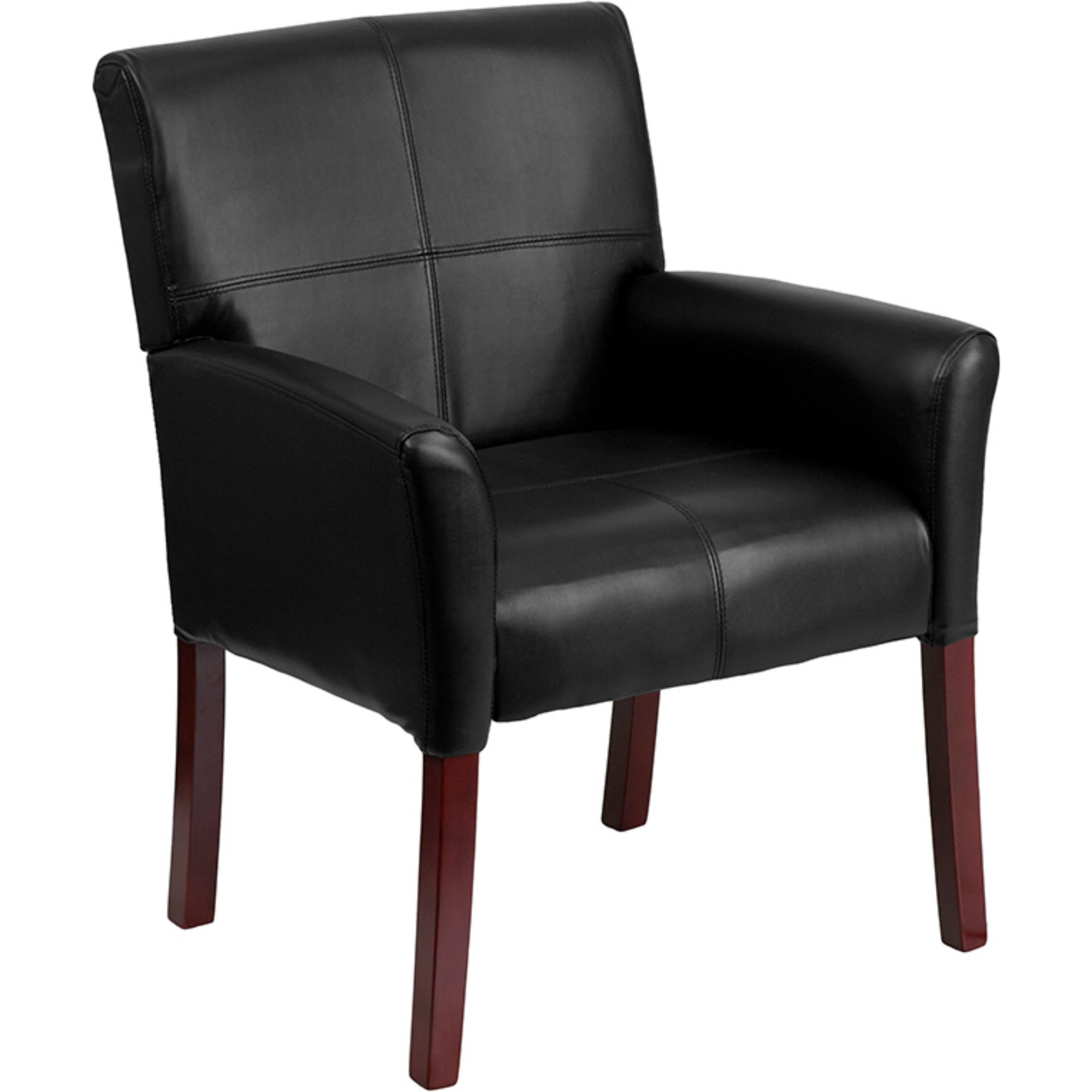 Offex Black Leather Executive Side Chair or Reception Chair with Mahogany Legs [BT-353-BK-LEA-GG]