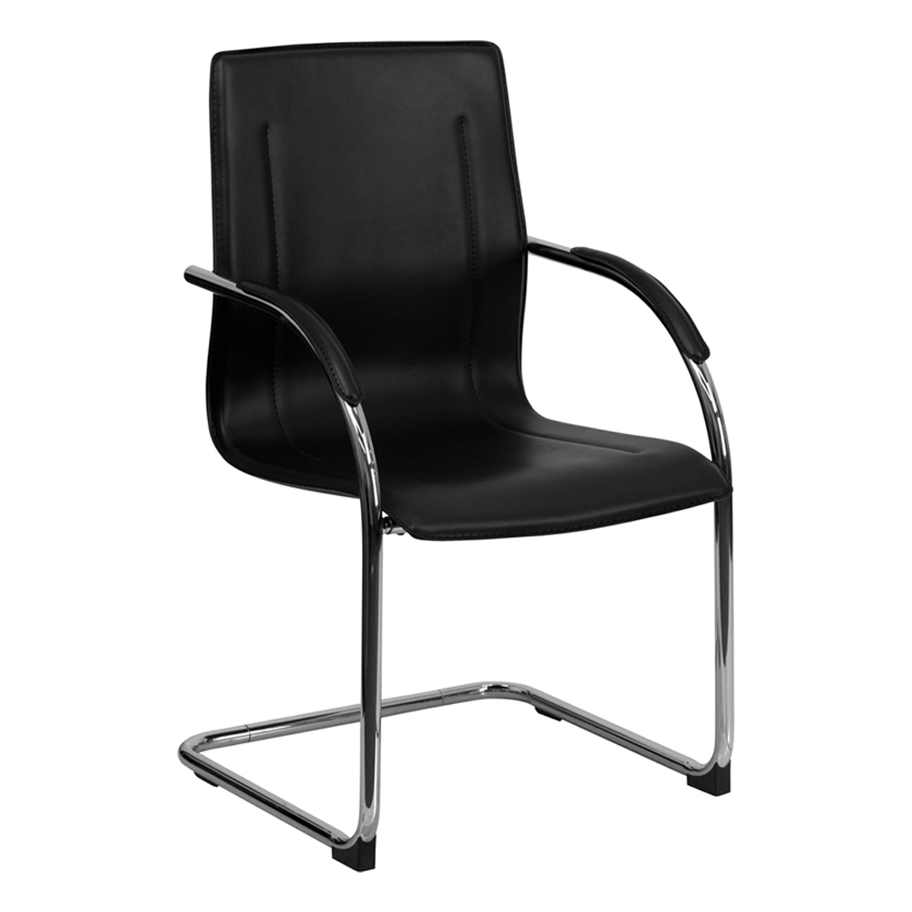 Offex Stackable Black Vinyl Leather Office Mesh Side Chair with Chrome Sled Base