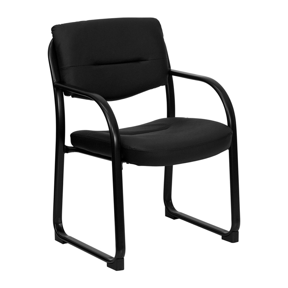 Offex Black Leather Executive Side Chair With Sled Base [Office Product]