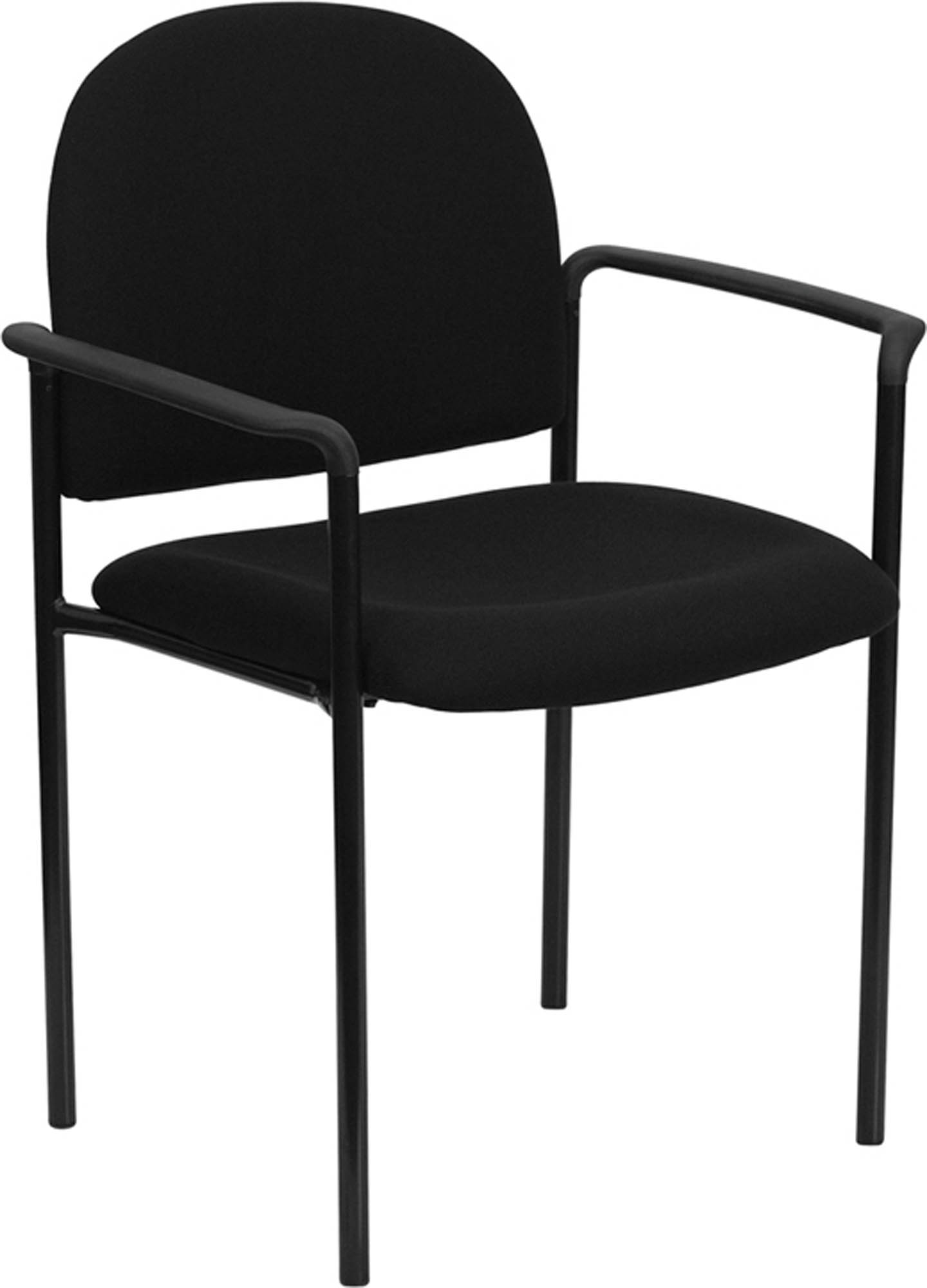 Offex Black Fabric Comfortable Stackable Steel Side Chair with Arms [BT-516-1-BK-GG]
