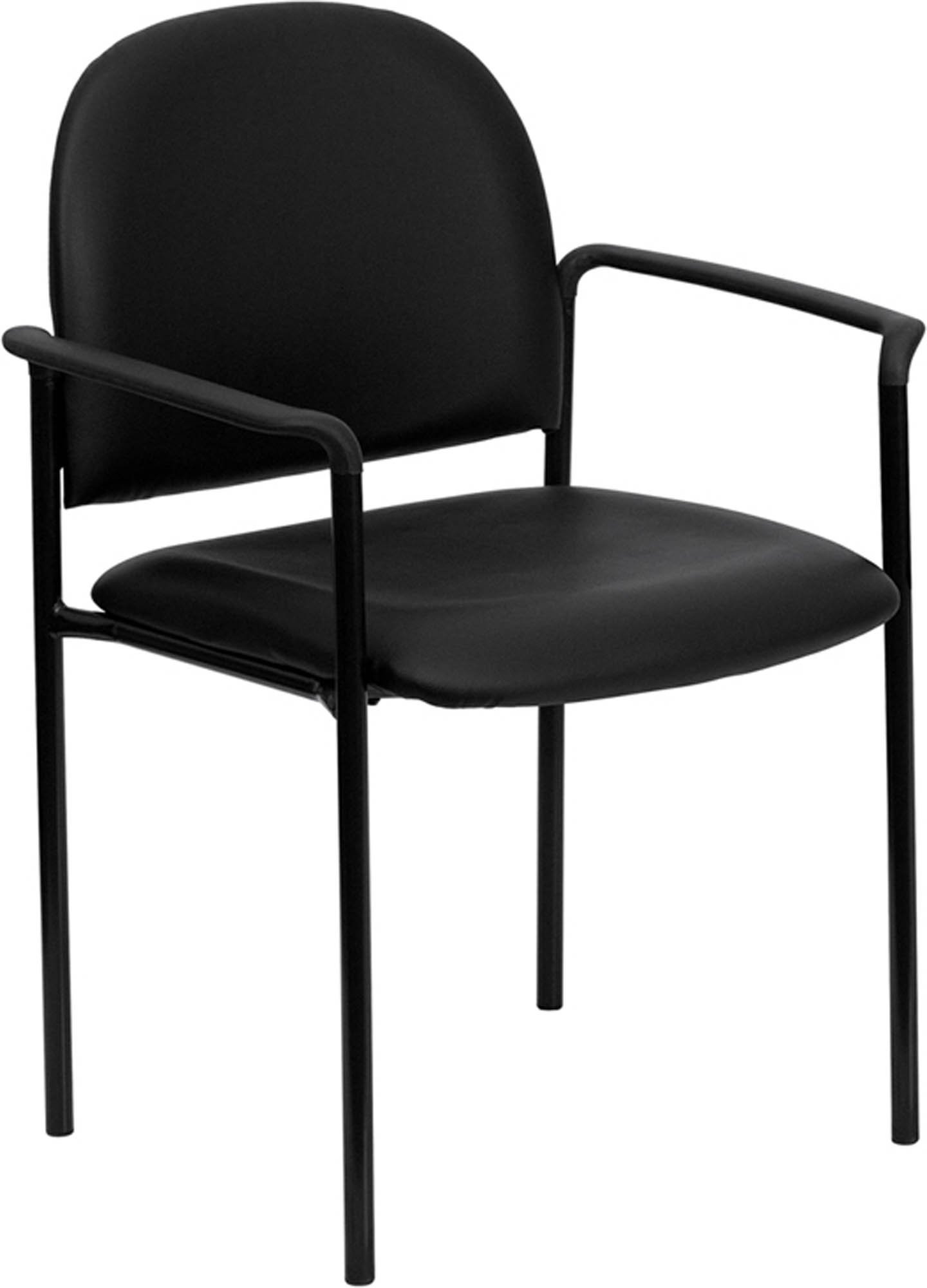 Offex Black Vinyl Comfortable Stackable Steel Side Chair with Arms [BT-516-1-VINYL-GG]