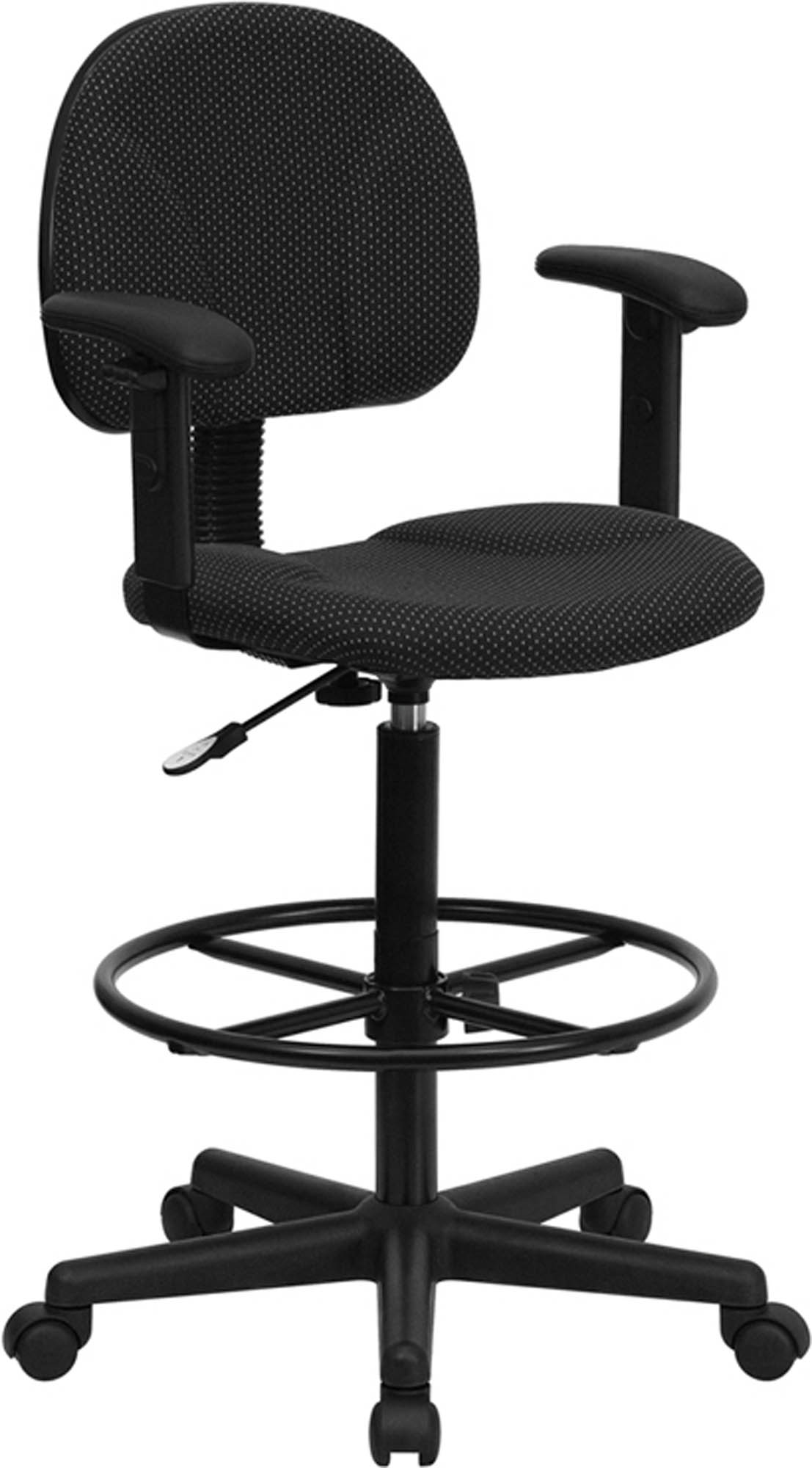 Offex Black Patterned Fabric Multi-Functional Ergonomic Drafting Stool with Arms (Adjustable Range 26'-30.5'H or 22.5'-27'H)