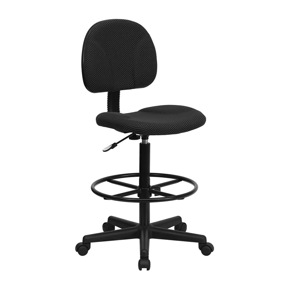 Offex BT-659-BLK-GG Black Patterned Fabric Drafting Stool (Adjustable Range 26'-30.5'H or 22.5'-27'H)