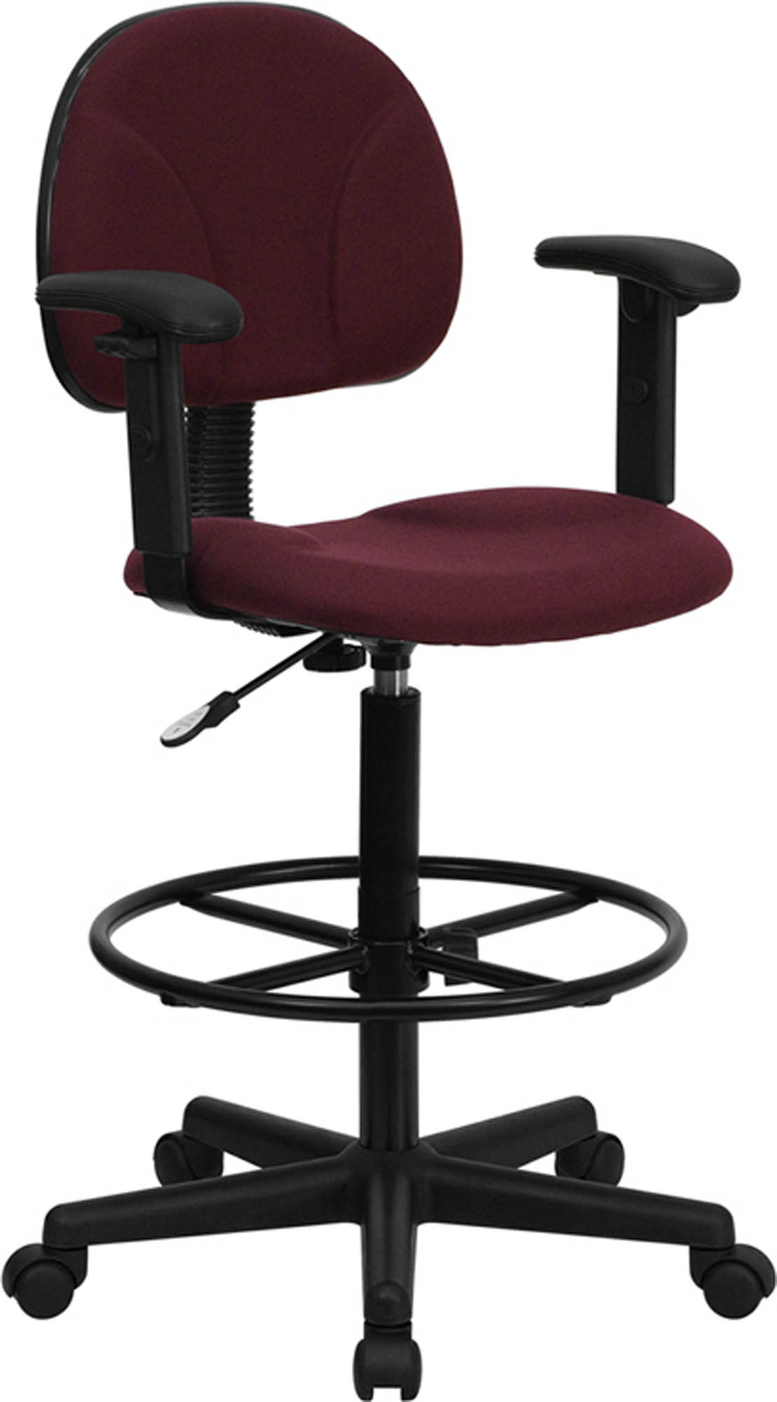 Offex BT-659-BY-ARMS-GG Burgundy Fabric Drafting Stool with Arms (Adjustable Range 26'-30.5'H or 22.5'-27'H)