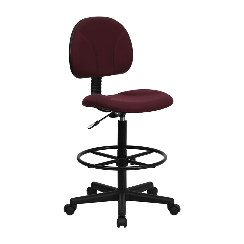 Offex BT-659-BY-GG Burgundy Fabric Drafting Stool (Adjustable Range 26'-30.5'H or 22.5'-27'H)