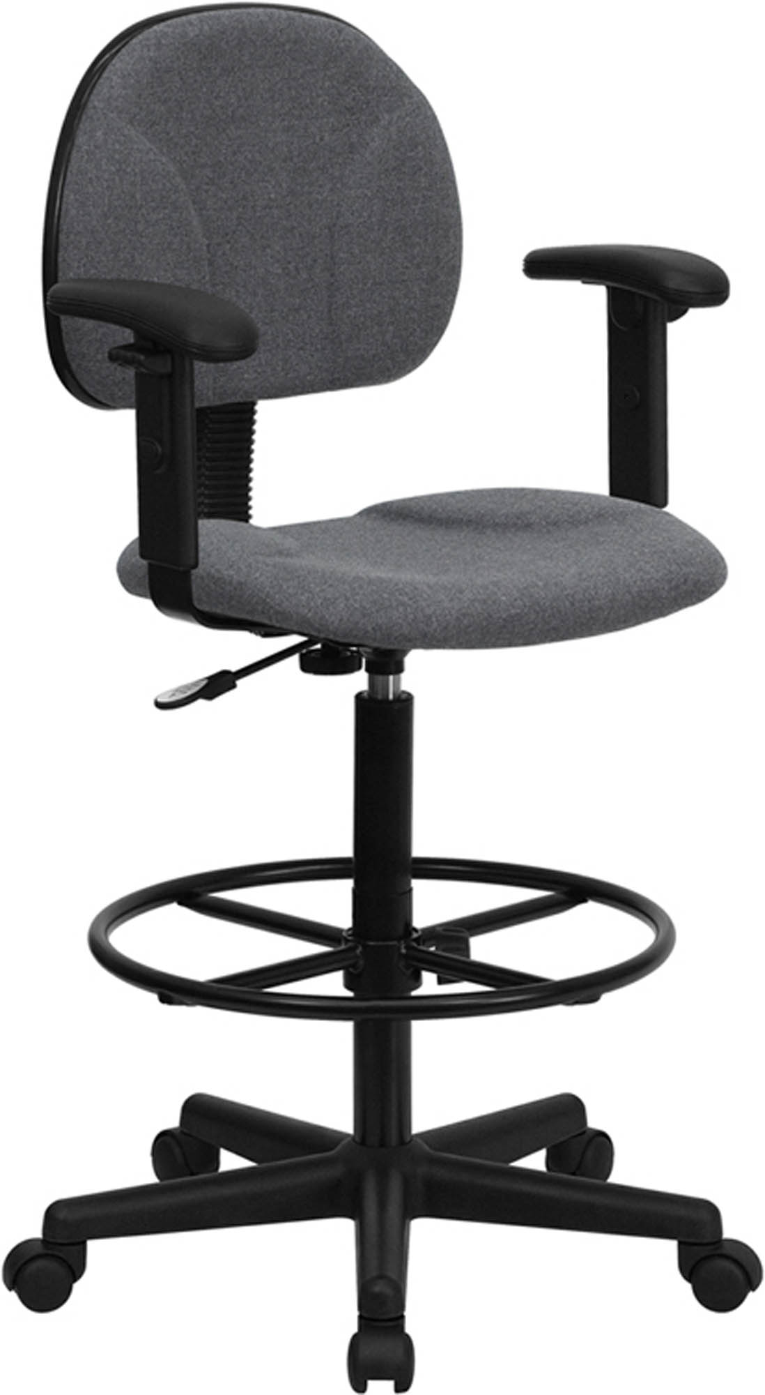Offex BT-659-GRY-ARMS-GG Gray Fabric Drafting Stool with Arms (Adjustable Range 26'-30.5'H or 22.5'-27'H)