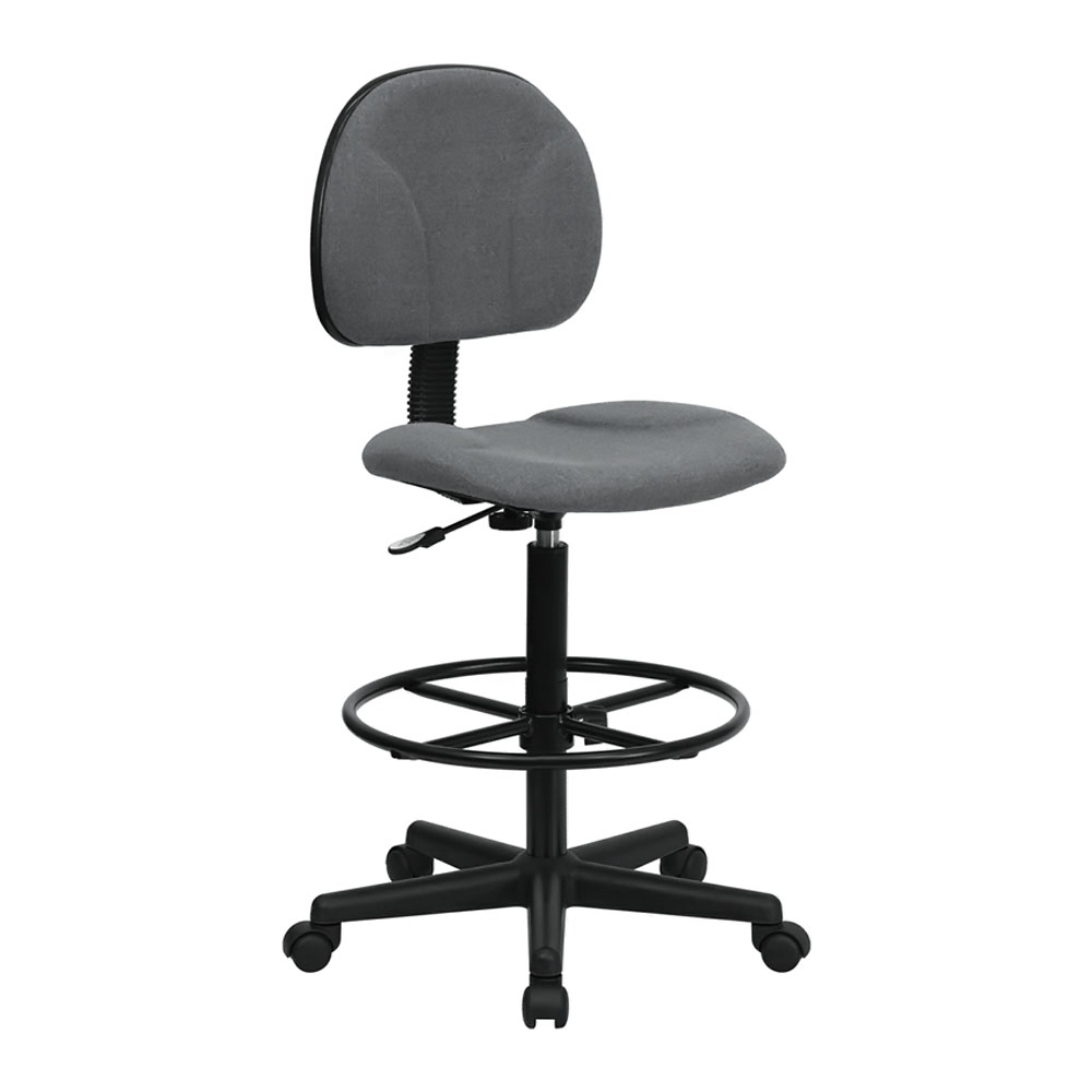 Offex BT-659-GRY-GG Gray Fabric Drafting Stool (Adjustable Range 26'-30.5'H or 22.5'-27'H)
