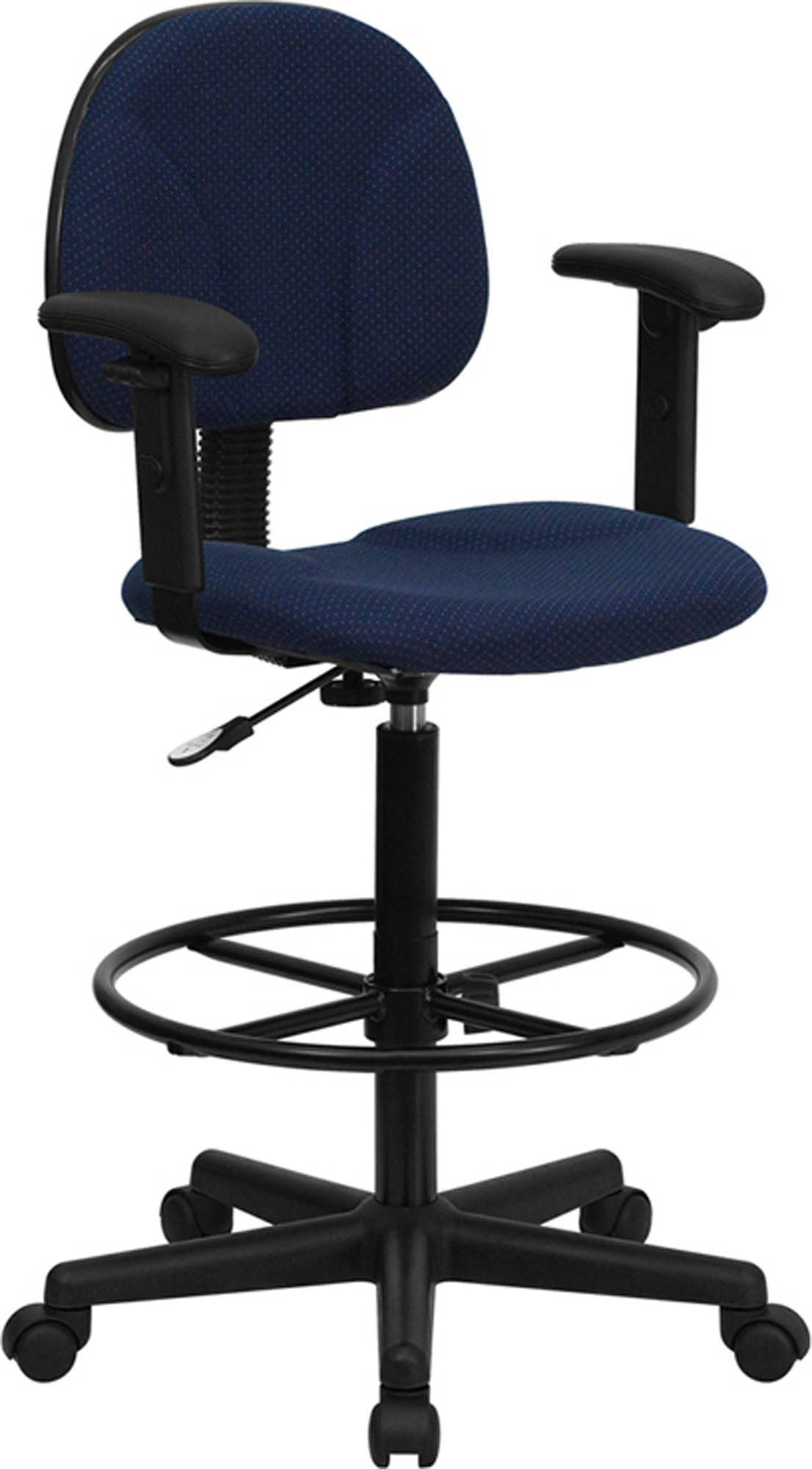 Offex BT-659-NVY-ARMS-GG Navy Blue Patterned Fabric Drafting Stool with Arms (Adjustable Range 26'-30.5'H or 22.5'-27'H)