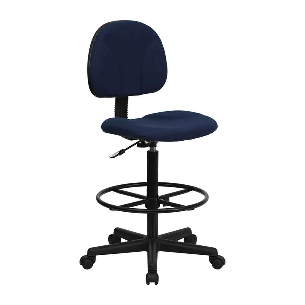 Offex BT-659-NVY-GG Navy Blue Patterned Fabric Drafting Stool (Adjustable Range 26'-30.5'H or 22.5'-27'H)