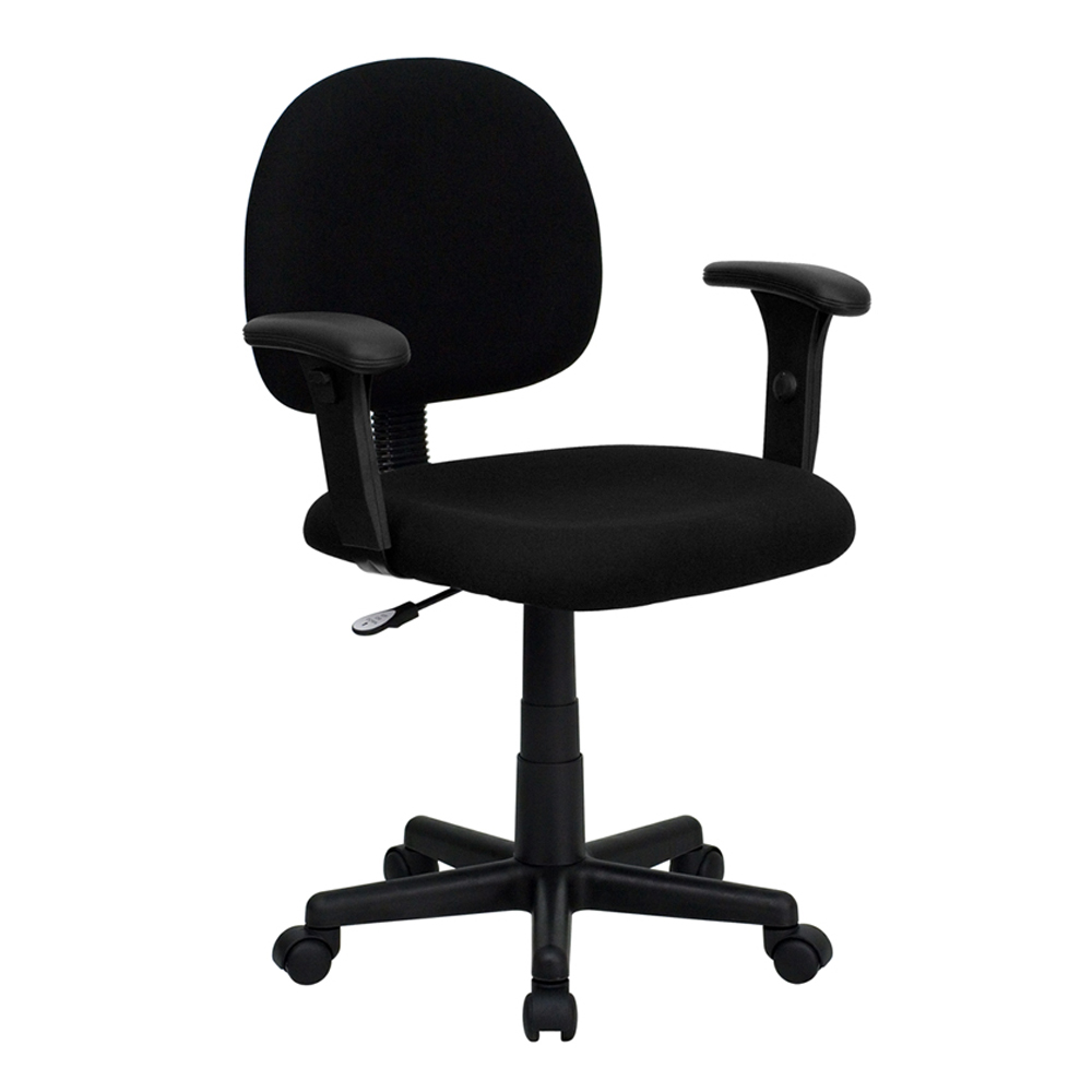 Offex Mid-Back Ergonomic Black Fabric Adjustable Task Chair with Adjustable Arms