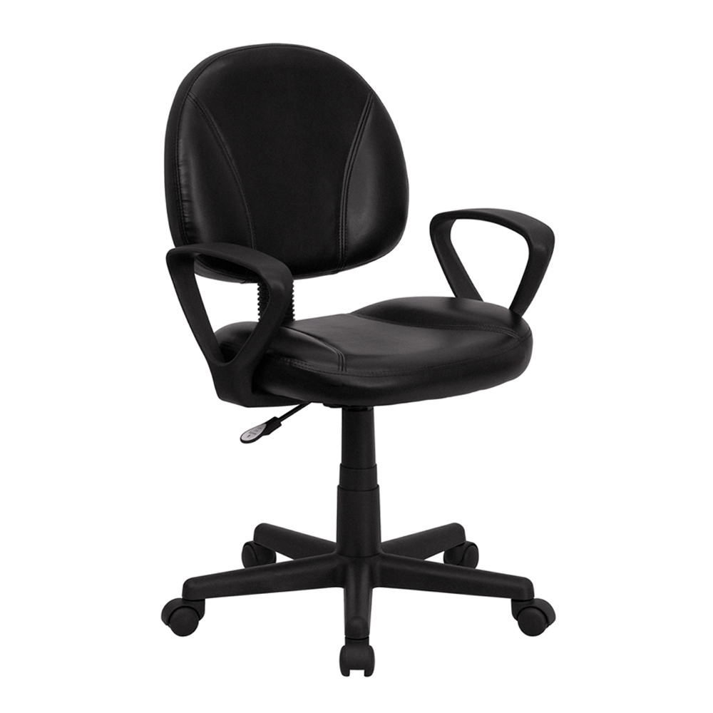 Offex Mid-Back Black Leather Ergonomic Task Chair with Arms