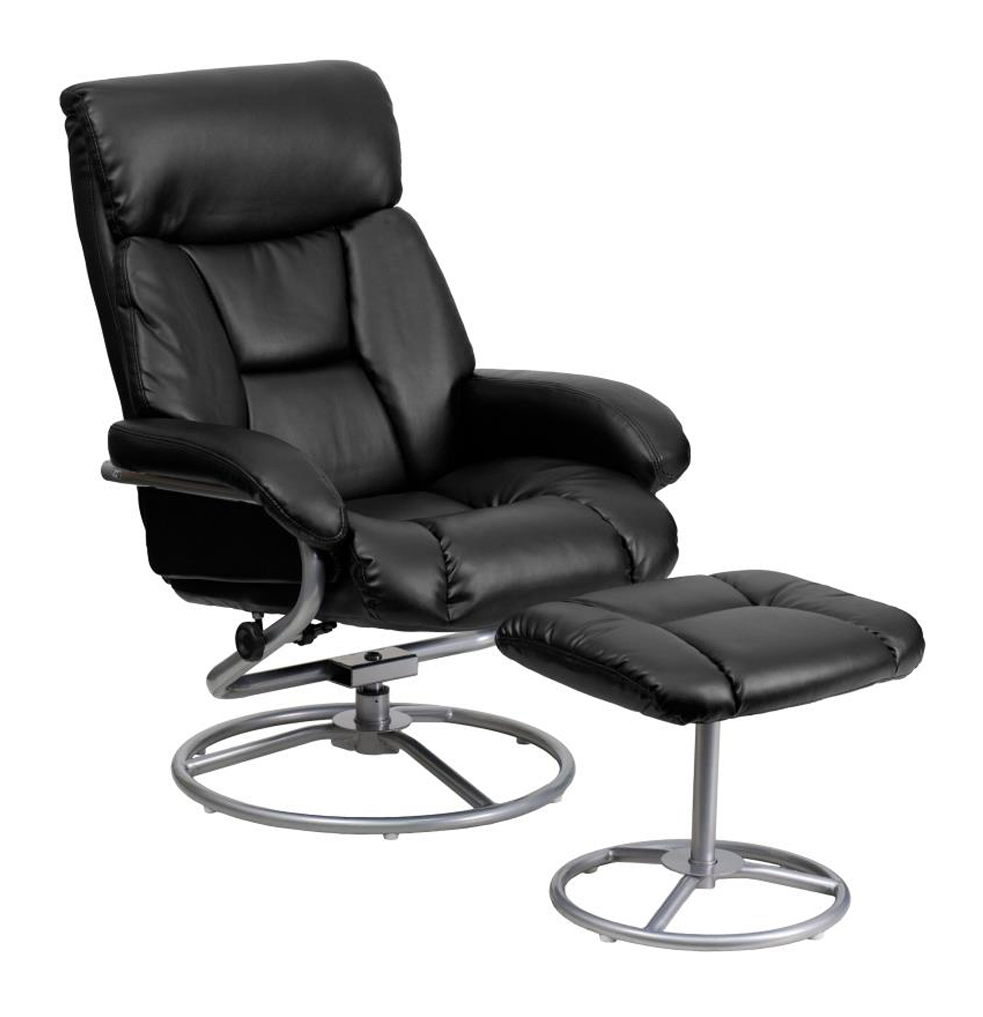 Offex Contemporary Black Leather Recliner And Ottoman With Metal Base [BT-70230-BK-CIR-GG]