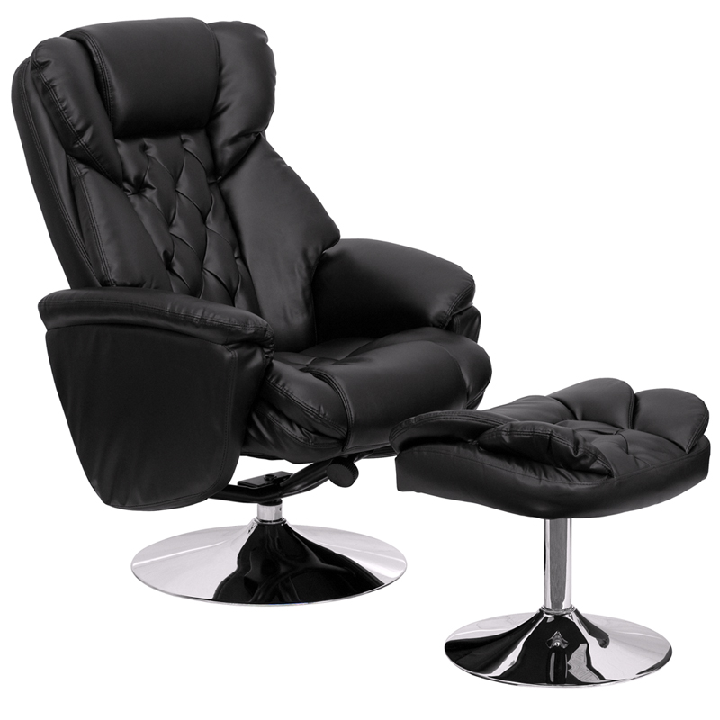 Flash Transitional Black Leather Recliner Chair and