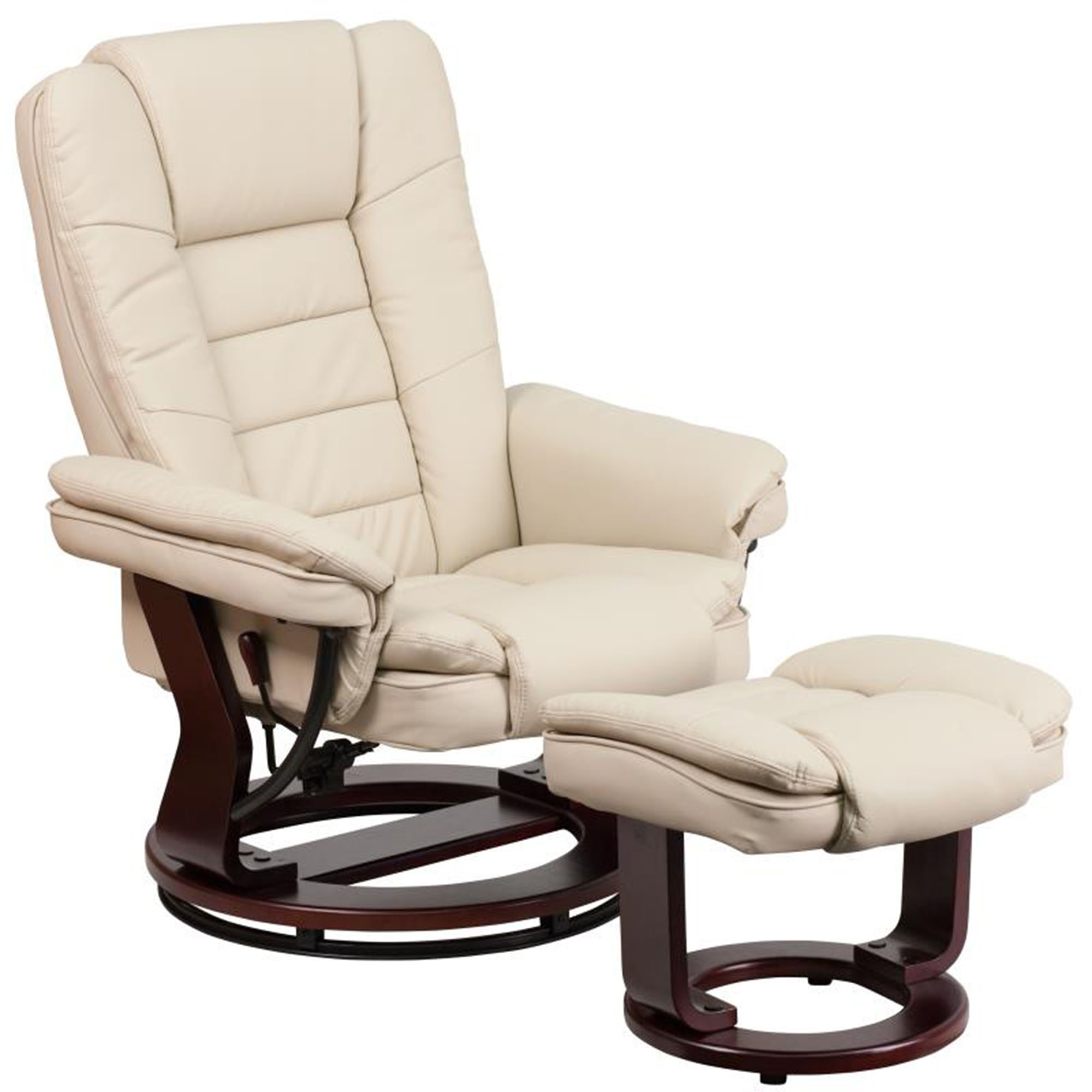 Offex Contemporary Beige Leather Recliner And Ottoman With Swiveling Mahogany Wood Base [BT-7818-BGE-GG]