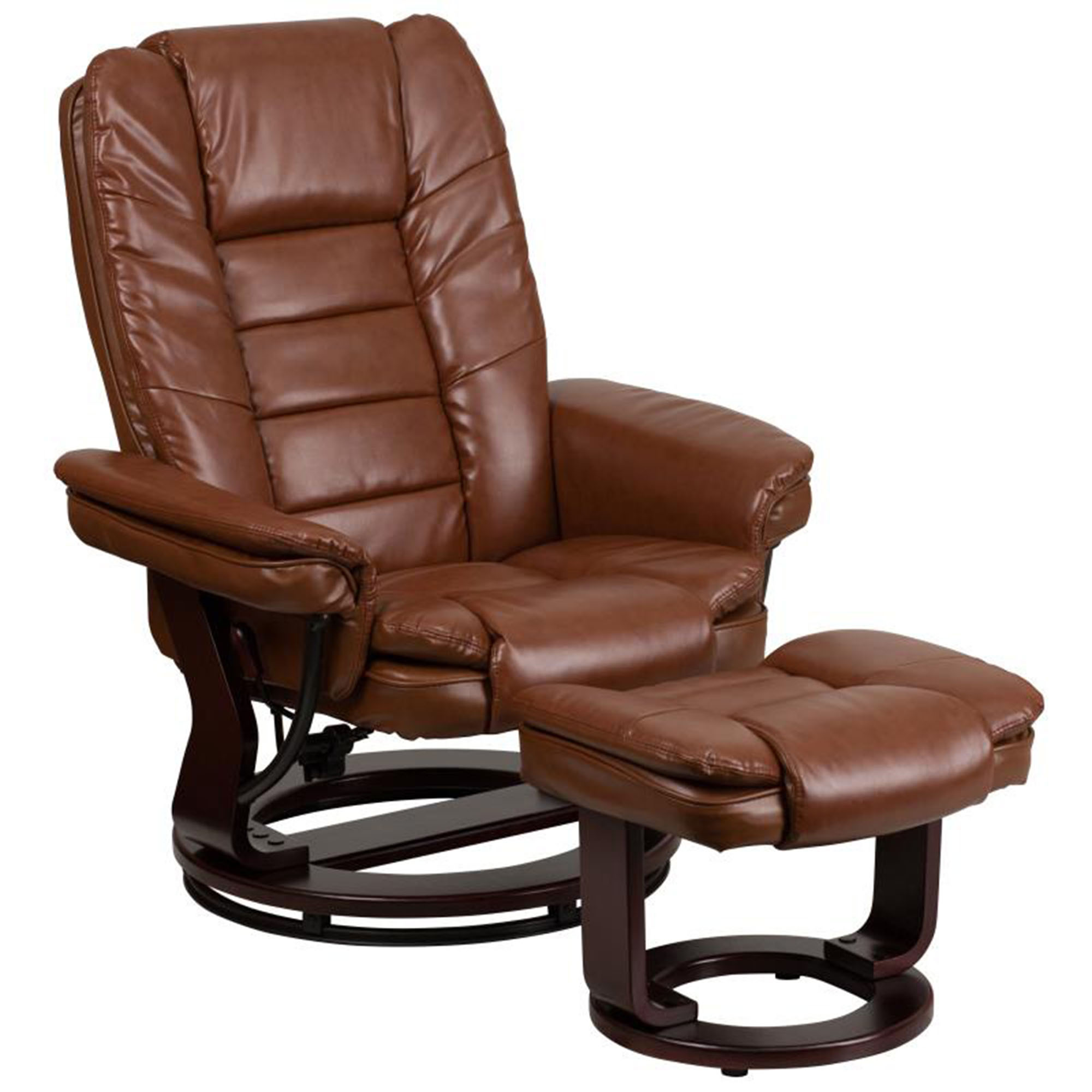 Offex Contemporary Brown Vintage Leather Recliner And Ottoman With Swiveling Mahogany Wood Base [BT-7818-VIN-GG]