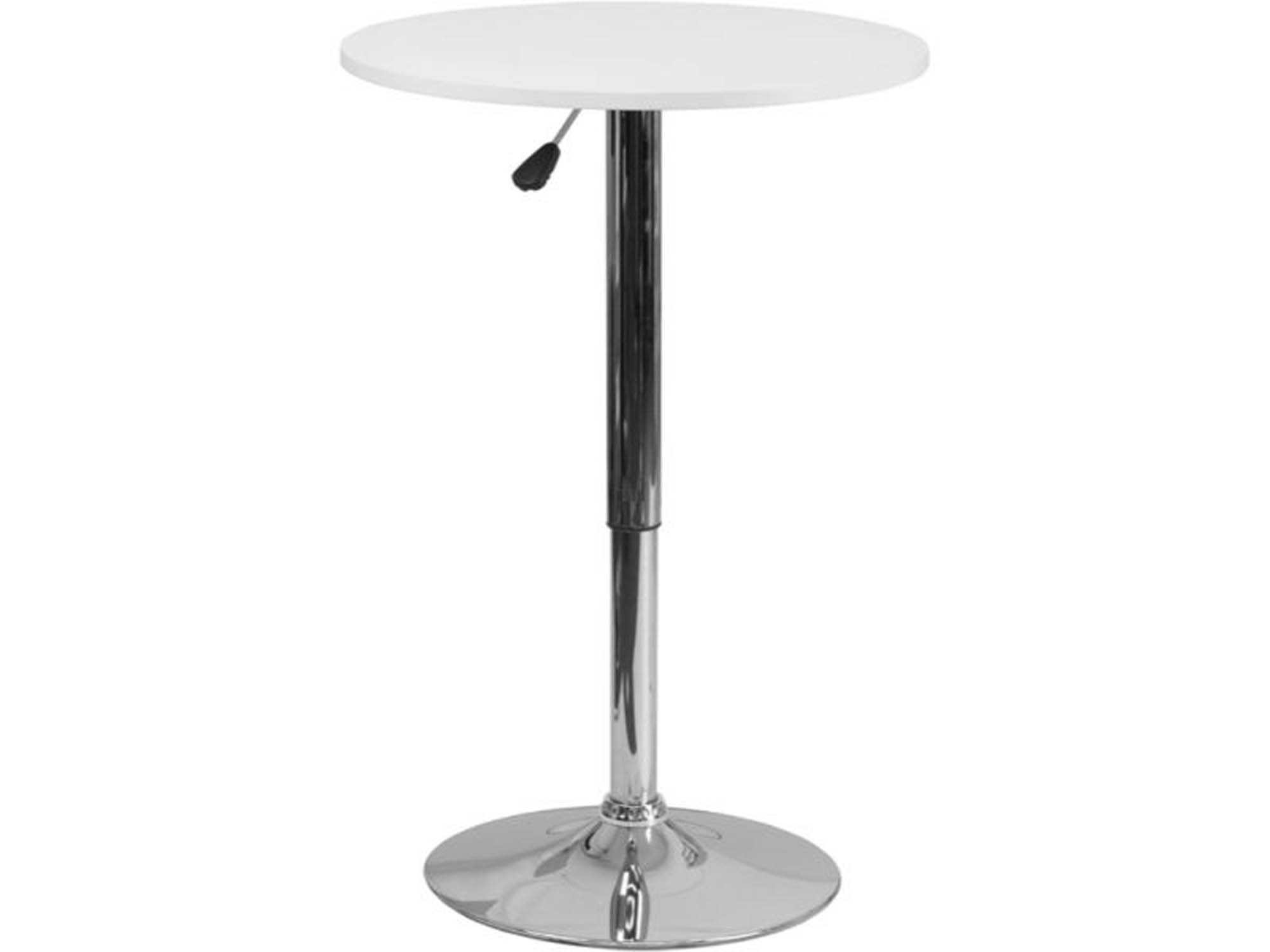 Offex 23.75' Adjustable Height White Wood Pedestal Table