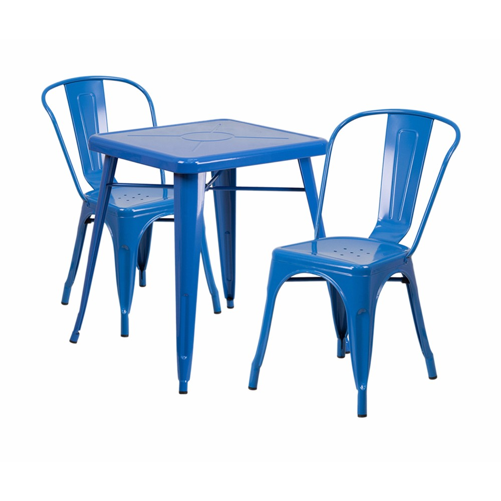 Offex Blue Metal Indoor-Outdoor Table Set With 2 Stack Chairs [CH-31330-2-30-BL-GG]