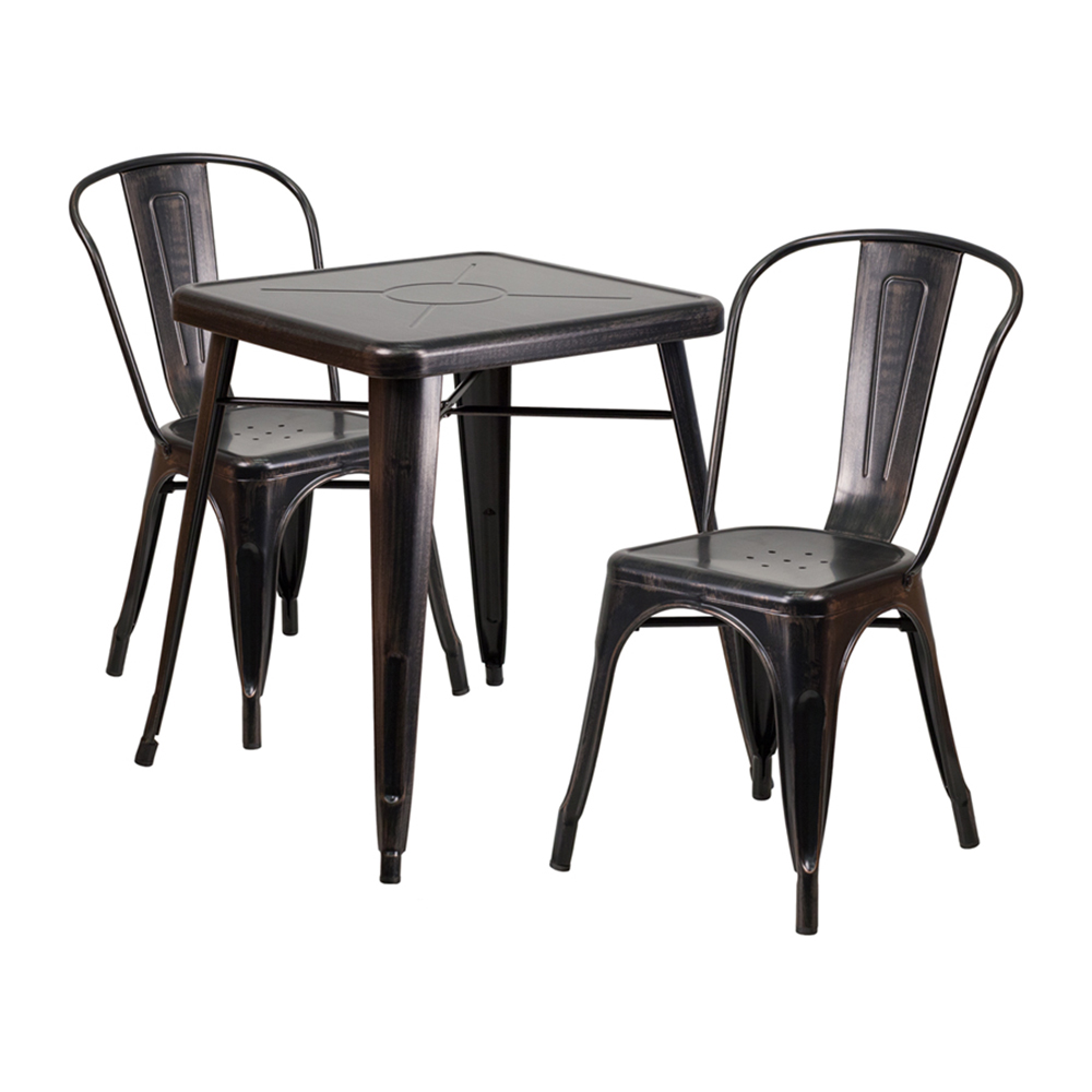 Offex Black-Antique Gold Metal Indoor-Outdoor Table Set With 2 Stack Chairs [CH-31330-2-30-BQ-GG]