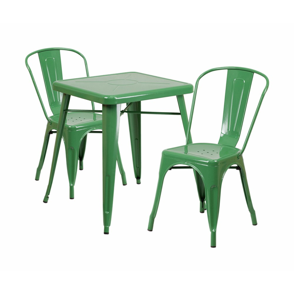 Offex Green Metal Indoor-Outdoor Table Set With 2 Stack Chairs [CH-31330-2-30-GN-GG]