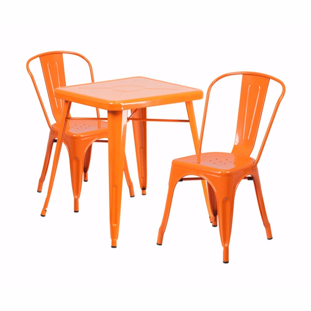 Offex Orange Metal Indoor-Outdoor Table Set With 2 Stack Chairs [CH-31330-2-30-OR-GG]