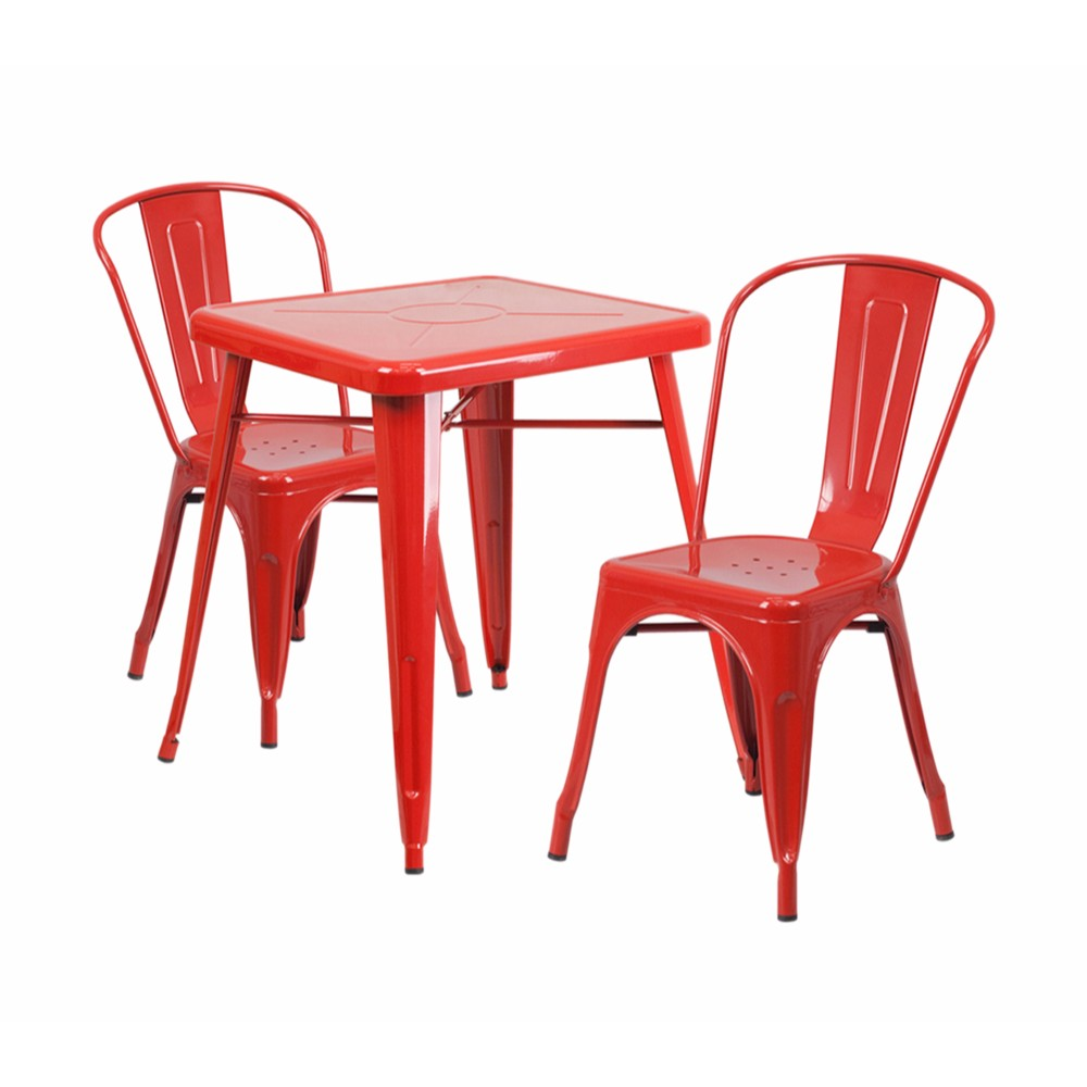 Offex Red Metal Indoor-Outdoor Table Set With 2 Stack Chairs [CH-31330-2-30-RED-GG]