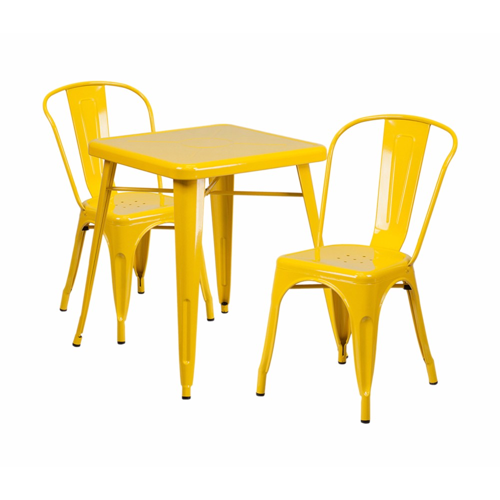 Offex Yellow Metal Indoor-Outdoor Table Set With 2 Stack Chairs [CH-31330-2-30-YL-GG]