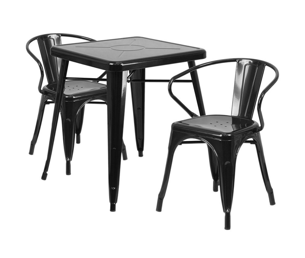 Offex Black Metal Indoor-Outdoor Table Set With 2 Arm Chairs [CH-31330-2-70-BK-GG]