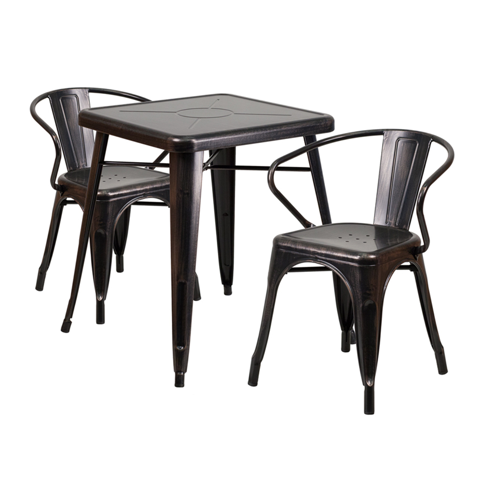 Flash Furniture Black-Antique Gold Metal Indoor-Outdoor Table Set With 2 Arm Chairs [CH-31330-2-70-BQ-GG]