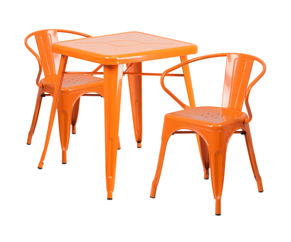Offex Orange Metal Indoor-Outdoor Table Set With 2 Arm Chairs [CH-31330-2-70-OR-GG]