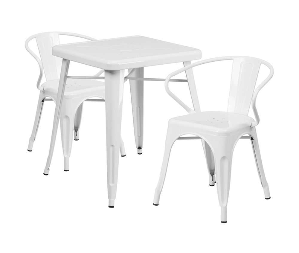 Offex White Metal Indoor-Outdoor Table Set With 2 Arm Chairs [CH-31330-2-70-WH-GG]