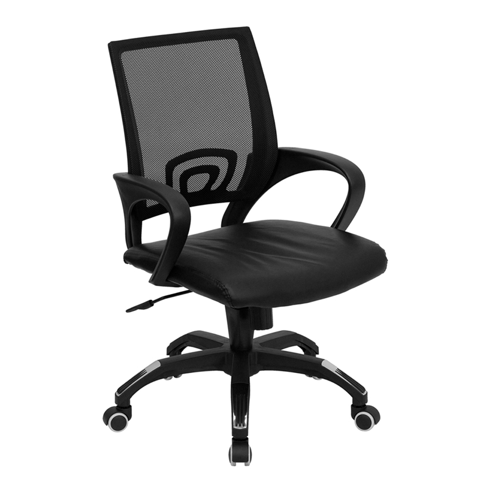 Offex Mid-Back Black Mesh Computer Chair With Black Leather Seat