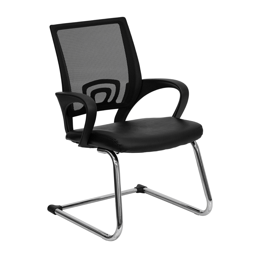 Offex CP-D119A01-BK-GG Black Leather Office Side Chair with Black Mesh Back and Sled Base