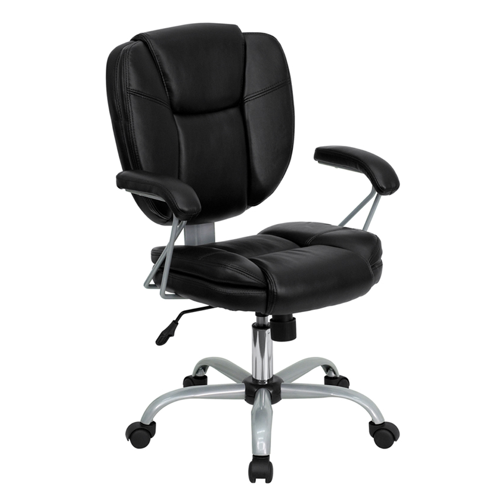 Offex GO-930-BK-GG Mid-Back Black Leather Task and Computer Chair