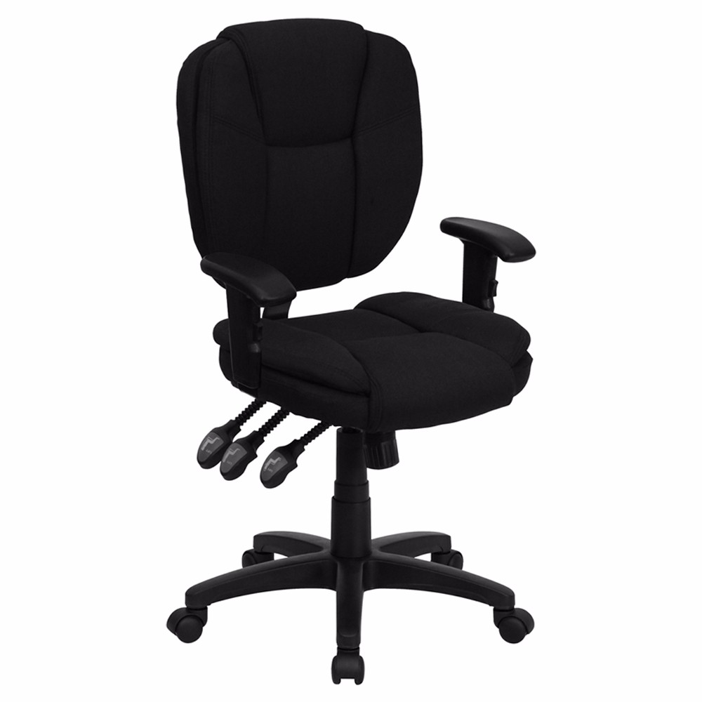 Offex Mid-Back Black Fabric Multi-Functional Ergonomic Task Chair with Arms