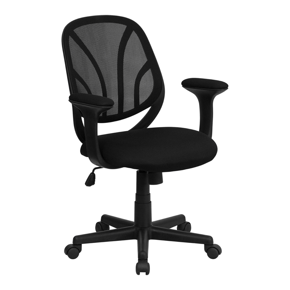 Offex Y-GO Chair™ Mid-Back Black Mesh Computer Task Chair with Arms
