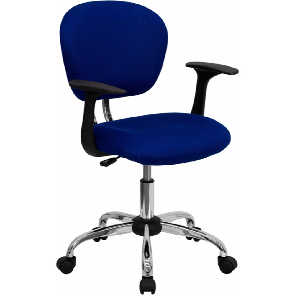 Offex Mid-Back Blue Mesh Task Chair with Arms and Chrome Base [H-2376-F-BLUE-ARMS-GG]