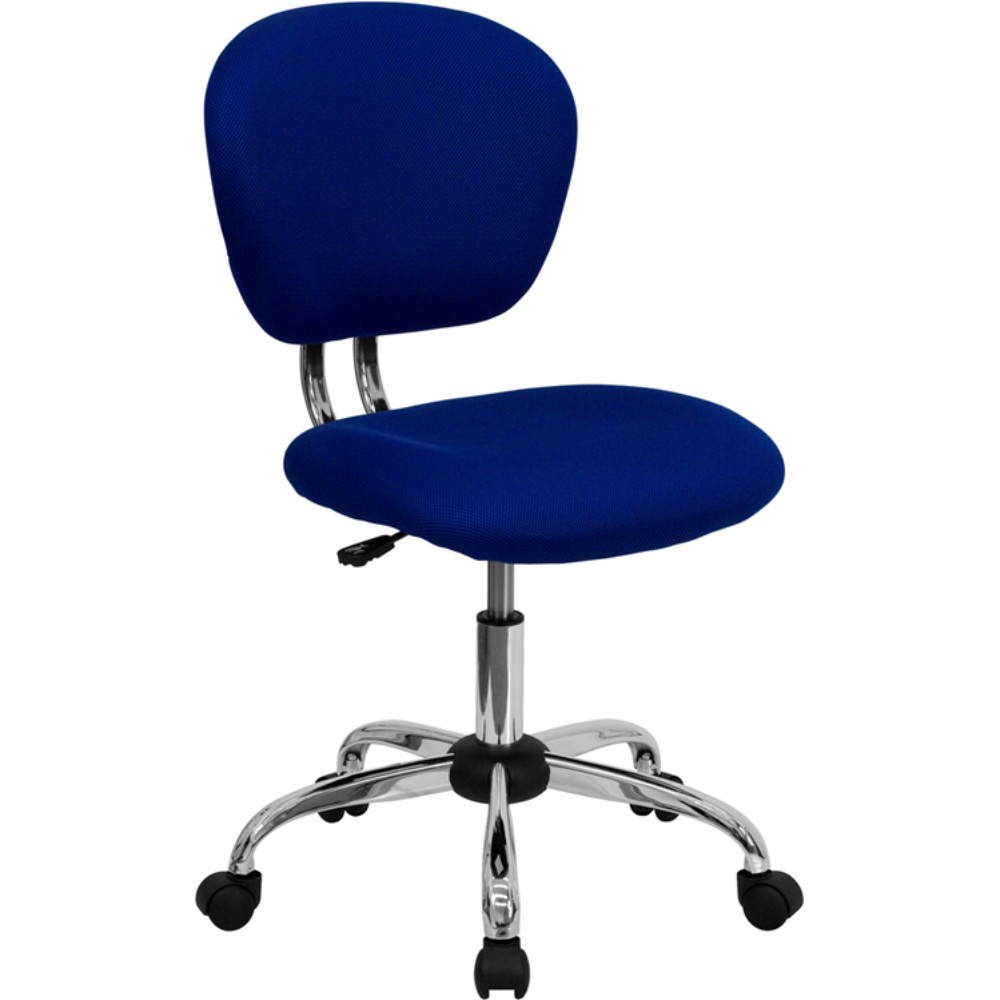 Offex Mid-Back Blue Mesh Task Chair with Chrome Base [H-2376-F-BLUE-GG]