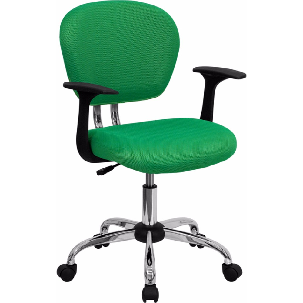 Offex Mid-Back Bright Green Mesh Task Chair with Arms and Chrome Base [H-2376-F-BRGRN-ARMS-GG]