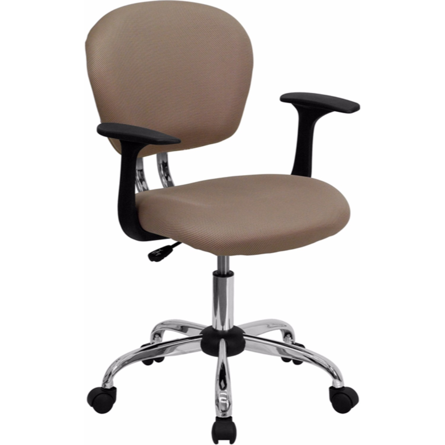 Offex Mid-back Coffee Brown Mesh Task Chair with Arms and Chrome Base