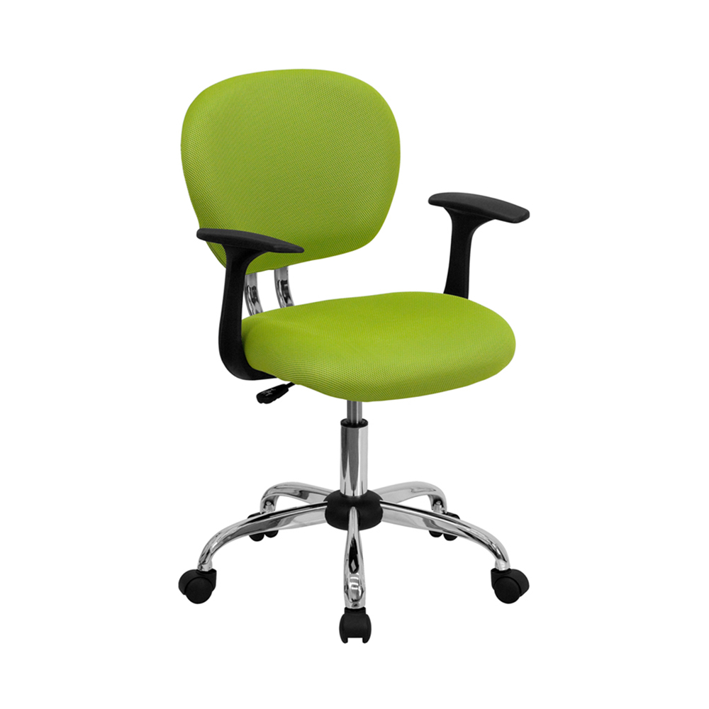 Offex H-2376-F-GN-ARMS-GG Mid-Back Apple Green Mesh Task Chair with Arms and Chrome Base