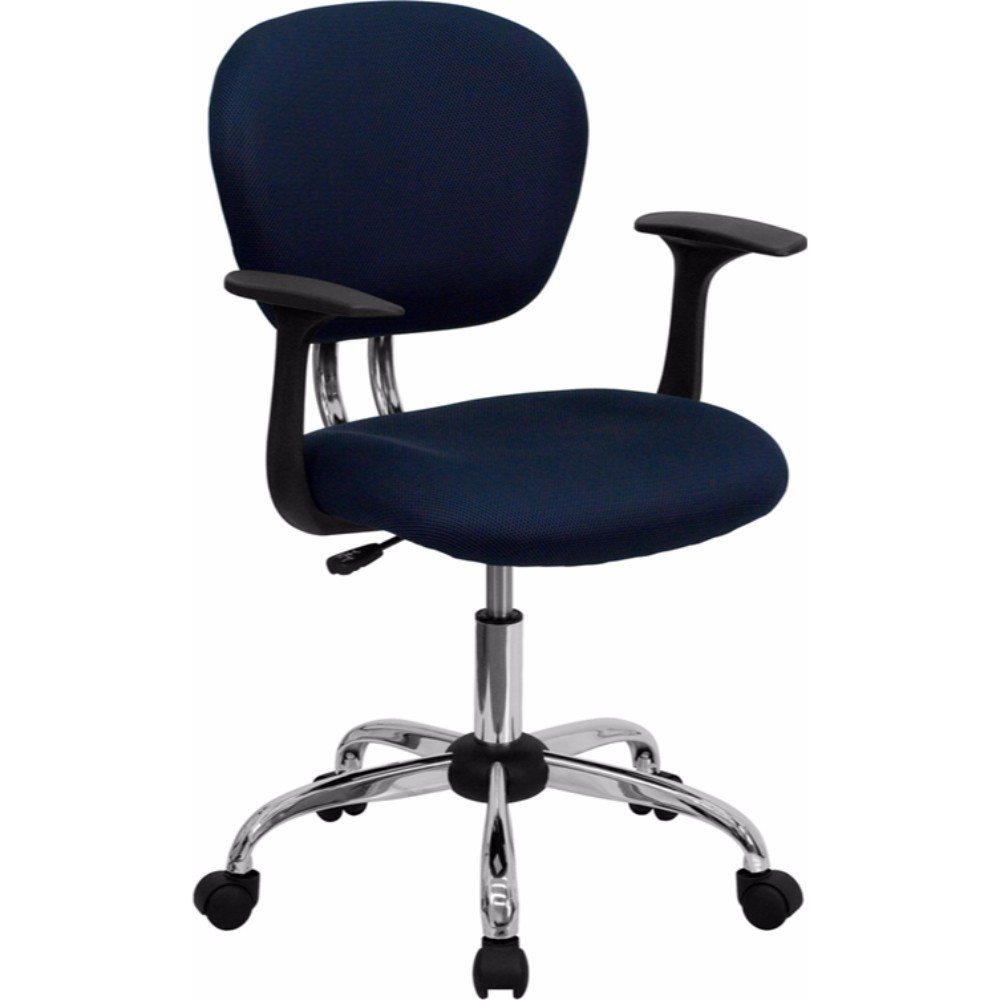 Offex Mid-back Navy Mesh Task Chair with Arms and Chrome Base