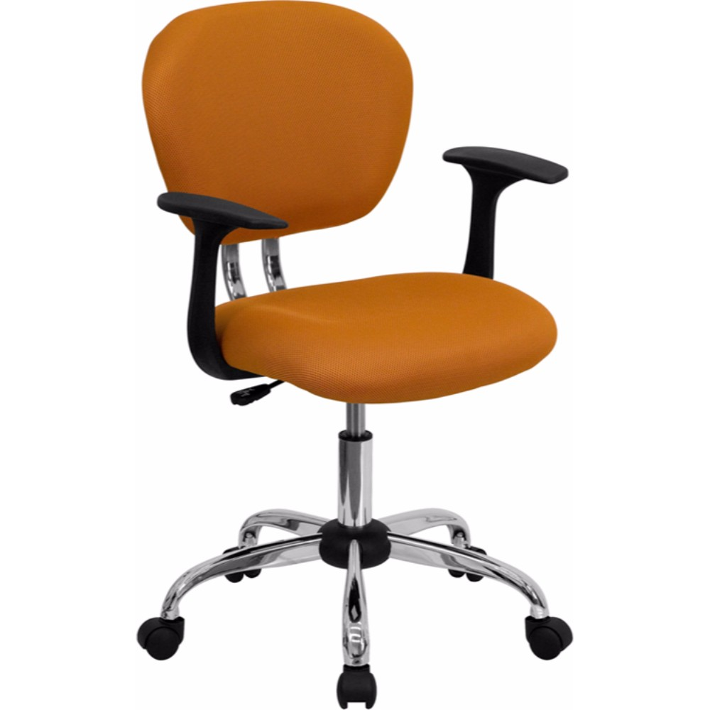 Offex Mid-back Orange Mesh Task Chair with Arms and Chrome Base
