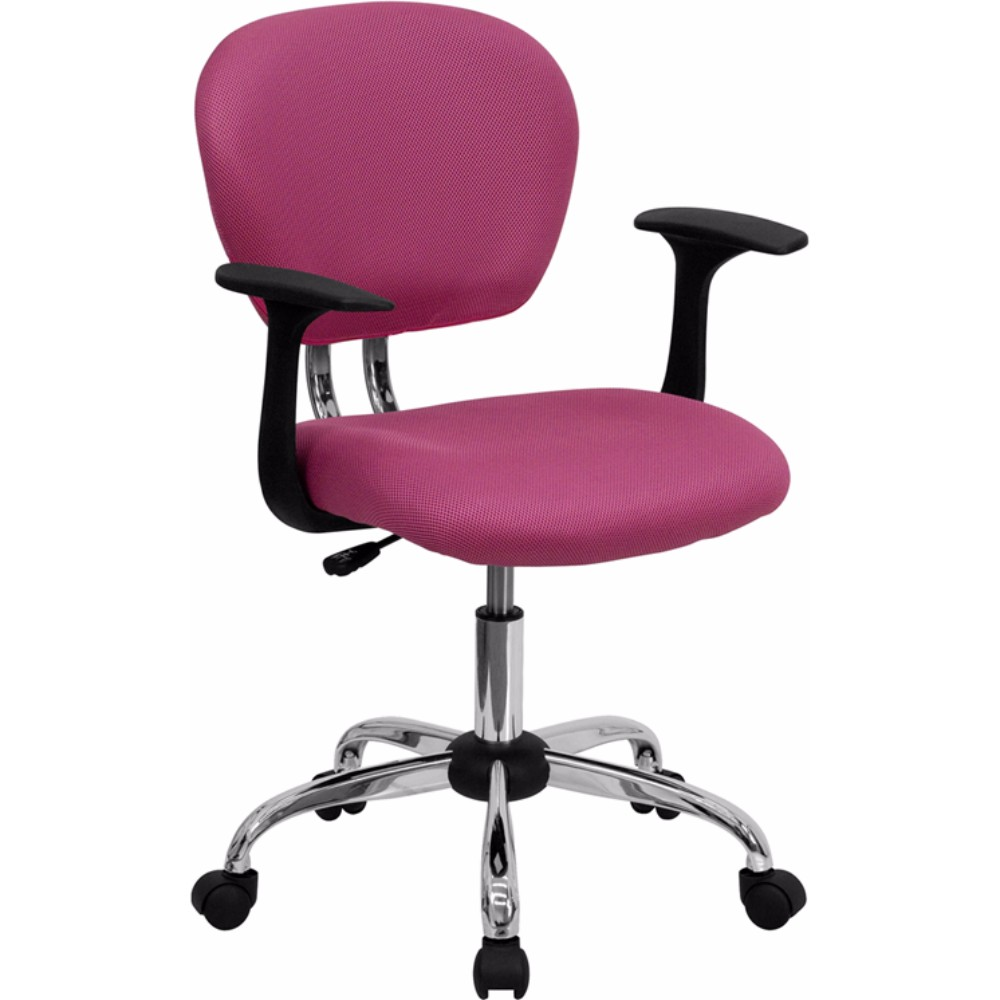 Offex Mid-back Pink Mesh Task Chair with Arms and Chrome Base