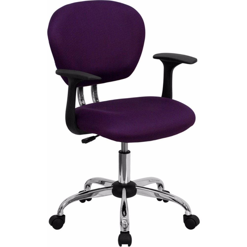 Offex H-2376-F-PUR-ARMS-GG Mid-Back Purple Mesh Task Chair with Arms and Chrome Base